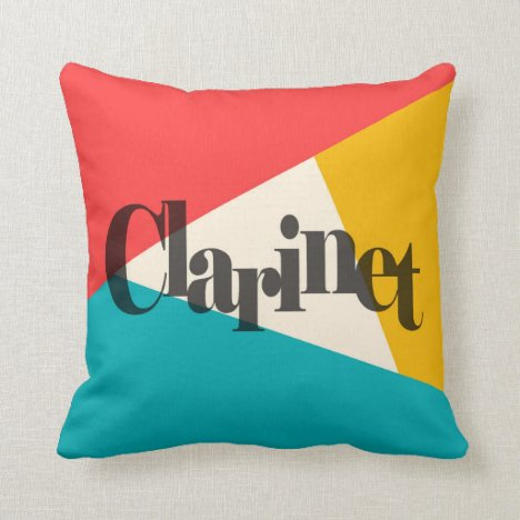 Clarinet Tri-Color - Turquoise Coral Gold Throw Pillow