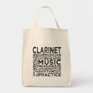 Clarinet Typography Canvas Bags