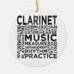 Clarinet Typography Christmas Ornament