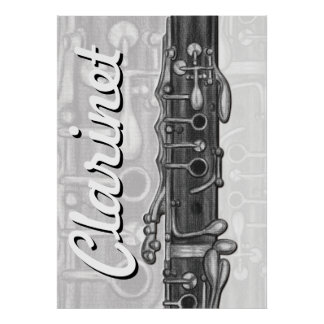 Clarinet Upper Joint in Charcoal Poster