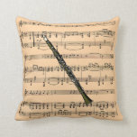 Clarinet w/Sheet Music Background ~ Musical Instru Pillows