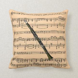Clarinet w/Sheet Music Background ~ Musical Instru Pillows