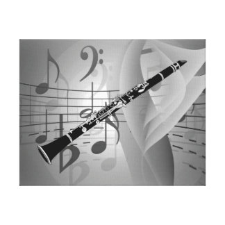 Clarinet with Musical Accents Canvas Print