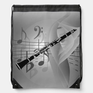 Clarinet with Musical Accents Cinch Bag