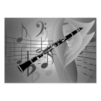 Clarinet with Musical Accents Large Business Card