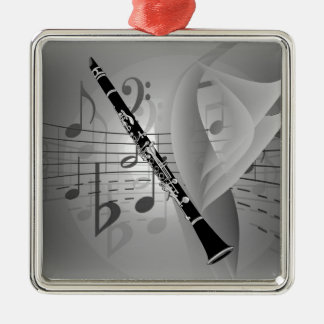 Clarinet with Musical Accents Metal Ornament