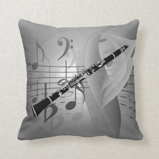 Clarinet with Musical Accents Pillow