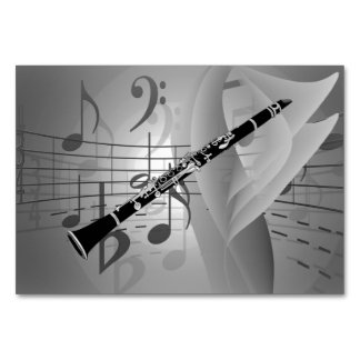 Clarinet with Musical Accents Table Card