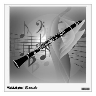 Clarinet with Musical Accents Wall Decal