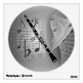 Clarinet with Musical Accents Wall Sticker