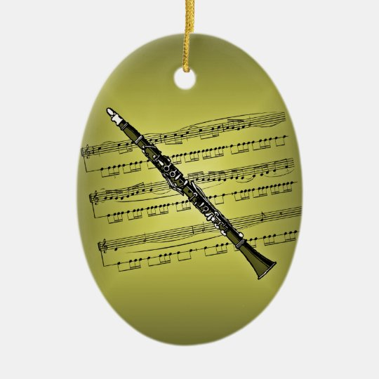 Clarinet With Sheet Music Background Ceramic Ornament