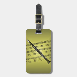 Clarinet With Sheet Music Background Luggage Tag