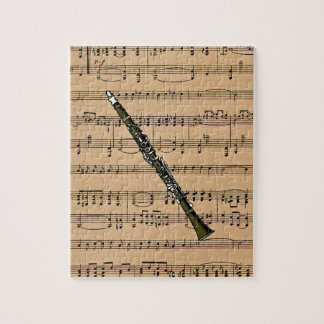 Clarinet With Sheet Music Background Puzzles