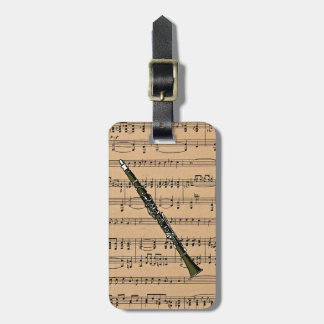 Clarinet With Sheet Music Background Tag For Luggage