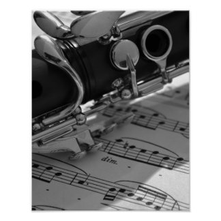 Clarinet with Sheet Music Poster