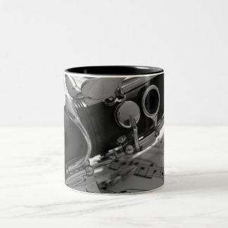 Clarinet with Sheet Music Two-Tone Coffee Mug