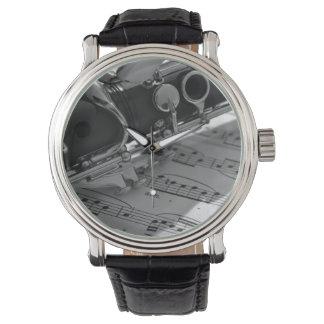 Clarinet with Sheet Music Wrist Watch