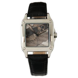 Clarinet with Sheet Music Wristwatch