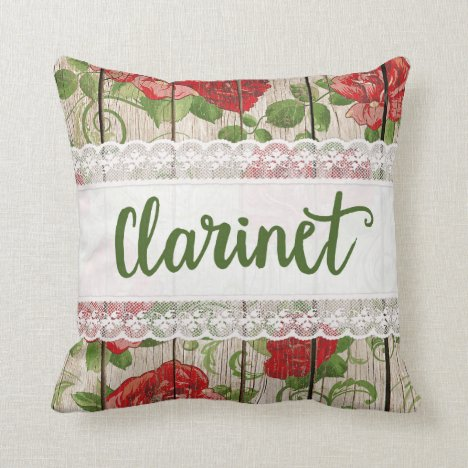 Clarinet Wood Lace Rustic Roses Music Throw Pillow