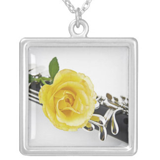 Clarinet Yellow Rose Necklace