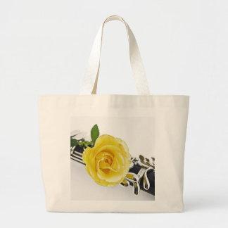 Clarinet & Yellow Rose Tote Bag