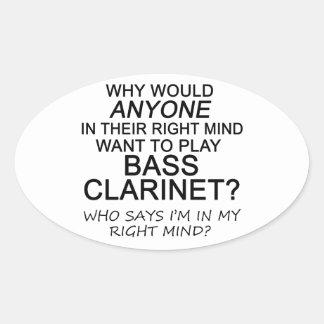 Clarinete bajo derecho de la mente colcomanias ovaladas