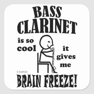 Clarinete bajo, helada del cerebro pegatinas cuadradas personalizadas