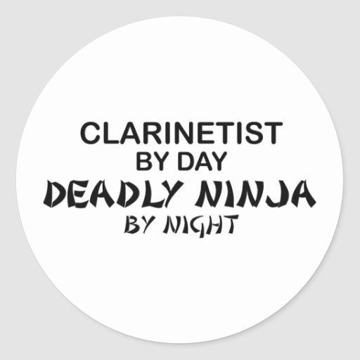 Clarinetist Deadly Ninja by Night Classic Round Sticker