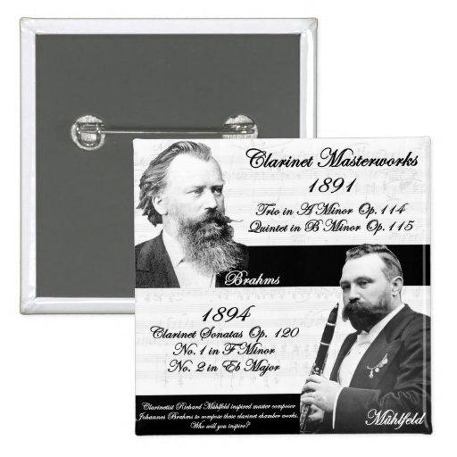 Clarinetist Mühlfeld inspired Brahms 2 Inch Square Button