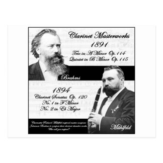 Clarinetist Mühlfeld inspired Brahms Postcard