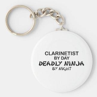 Clarinetist Ninja mortal por noche Llavero Redondo Tipo Pin