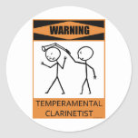 Clarinetist temperamental amonestador etiquetas redondas