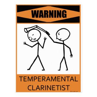 Clarinetist temperamental amonestador postal