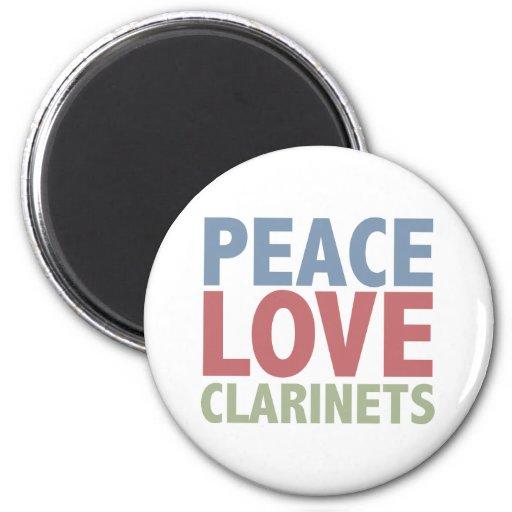 Clarinets del amor de la paz imán redondo 5 cm