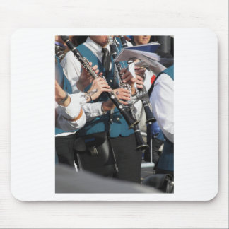 Clarinets in the hands of the musicians mouse pad