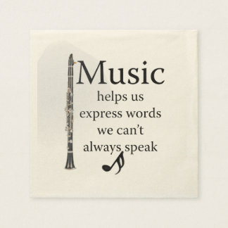 Clarinets Music Helps Us Express Words Kitchen Paper Napkin