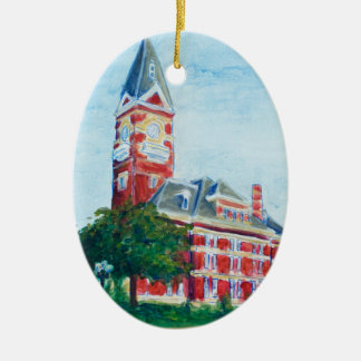 Clarion Courthouse Painting Double-Sided Oval Ceramic Christmas Ornament