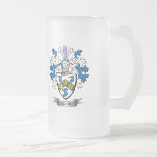 Clark Coat of Arms Frosted Glass Beer Mug