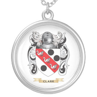Clark Coat of Arms Silver Plated Necklace