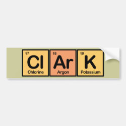 Bumper Sticker with Clark made of Elements design
