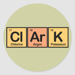 Round Sticker with Clark made of Elements design