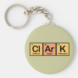 Basic Button Keychain with Clark made of Elements design