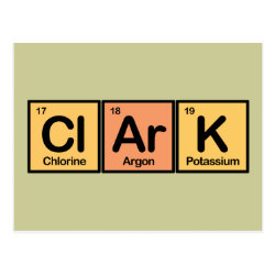Postcard with Clark made of Elements design