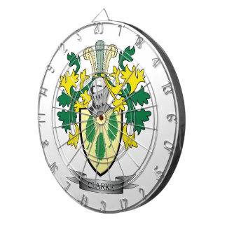 Clarke Coat of Arms Dartboard With Darts