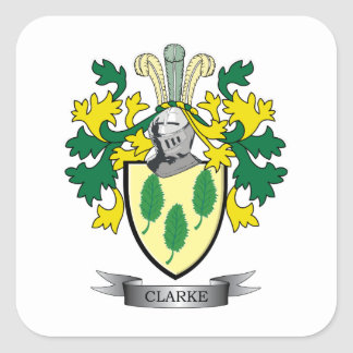 Clarke Coat of Arms Square Sticker
