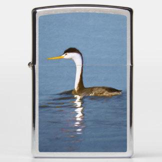 Clark's Grebe Painting - Original Bird Art Zippo Lighter