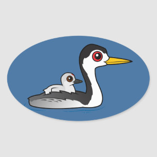 Clark's Grebe with chick Oval Sticker
