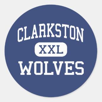 Clarkston - lobos - alto - Clarkston Michigan Pegatinas Redondas