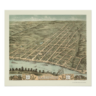 Clarksville, mapa panorámico del TN - 1870 Posters