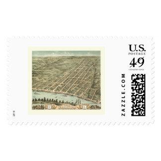 Clarksville, TN Panoramic Map - 1870 Stamp